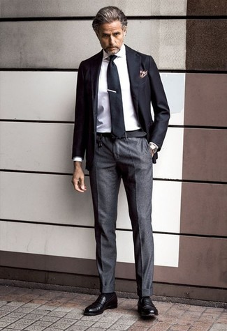 How to wear: black leather loafers, charcoal dress pants, white dress shirt, black blazer