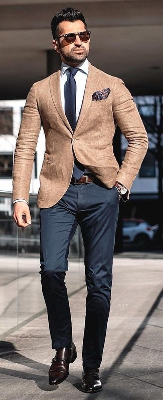 How to wear: dark brown leather double monks, black dress pants, white dress shirt, tan blazer