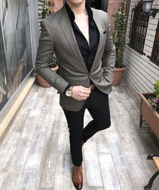 How to wear: brown leather derby shoes, black dress pants, black dress shirt, grey blazer