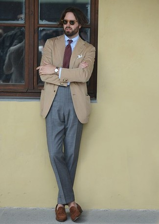 How to wear: brown suede loafers, grey dress pants, light blue dress shirt, tan blazer