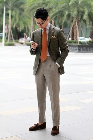 How to wear: dark brown suede tassel loafers, beige wool dress pants, grey dress shirt, olive wool blazer
