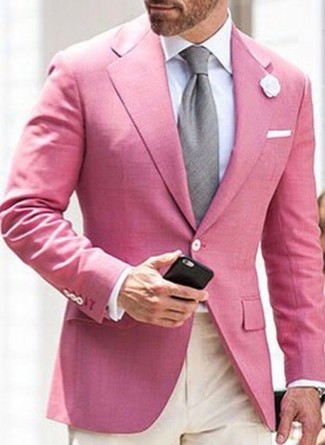 How to wear: grey tie, beige dress pants, white dress shirt, pink blazer
