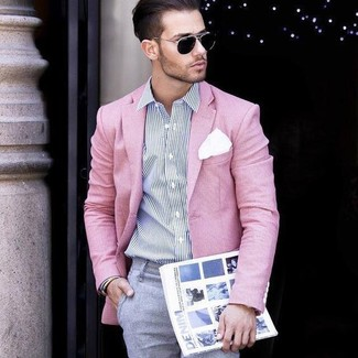 How to Wear a Pink Blazer For Men: This is solid proof that a pink blazer and grey dress pants are awesome when teamed together in a refined outfit for today's gent.