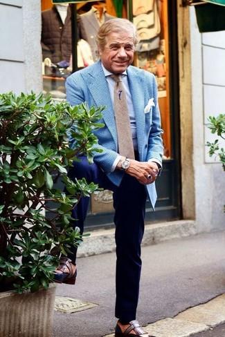 How to wear: brown leather tassel loafers, navy dress pants, light blue dress shirt, blue gingham blazer