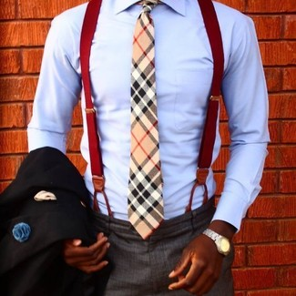 How to wear: tan plaid tie, charcoal dress pants, light blue dress shirt, black blazer