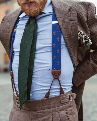 How to wear: dark green knit tie, brown wool dress pants, light blue dress shirt, brown plaid blazer