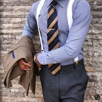 How to wear: navy vertical striped tie, charcoal check dress pants, blue vertical striped dress shirt, brown blazer