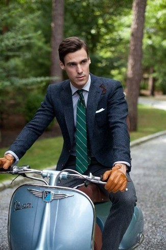 How to wear: dark green vertical striped tie, charcoal wool dress pants, light blue dress shirt, navy wool blazer