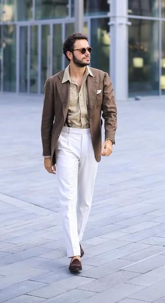 How to wear: dark brown suede loafers, white dress pants, tan dress shirt, brown blazer