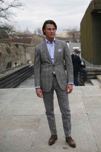 How to wear: charcoal suede double monks, grey wool dress pants, light blue dress shirt, grey plaid blazer