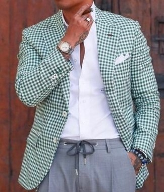 How to wear: white pocket square, grey dress pants, white dress shirt, green gingham blazer