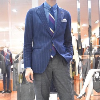 How to wear: navy vertical striped tie, grey dress pants, blue chambray dress shirt, navy vertical striped blazer