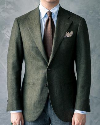 How to wear: dark brown print tie, charcoal wool dress pants, light blue vertical striped dress shirt, dark green wool blazer