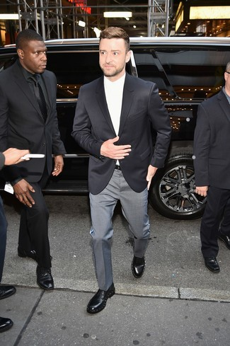 How to wear: black embellished leather derby shoes, grey check dress pants, white dress shirt, black blazer