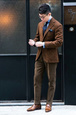 How to wear: brown leather double monks, brown corduroy dress pants, light blue dress shirt, brown wool blazer