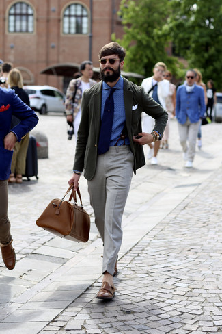 How to wear: brown leather double monks, grey dress pants, blue polka dot dress shirt, dark green blazer