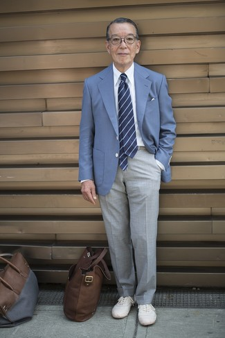 How to wear: white low top sneakers, grey dress pants, white dress shirt, blue blazer