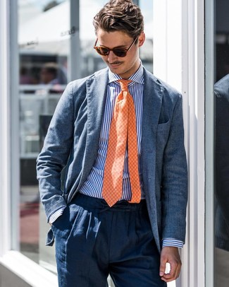 How to wear: orange check tie, navy linen dress pants, white and blue vertical striped dress shirt, blue blazer