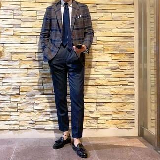 How to wear: black leather tassel loafers, navy dress pants, white dress shirt, dark brown plaid wool blazer