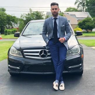 How to wear: white leather tassel loafers, navy dress pants, light blue dress shirt, light blue plaid blazer
