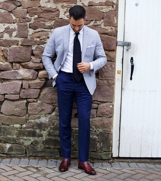 How to wear: burgundy leather loafers, navy dress pants, white dress shirt, light blue blazer