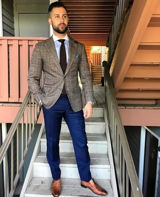 How to wear: brown leather derby shoes, navy dress pants, light blue vertical striped dress shirt, brown plaid blazer