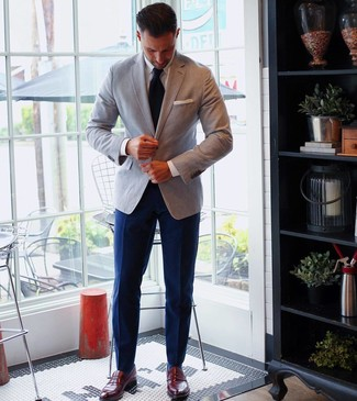 How to wear: burgundy leather loafers, navy dress pants, white dress shirt, grey blazer