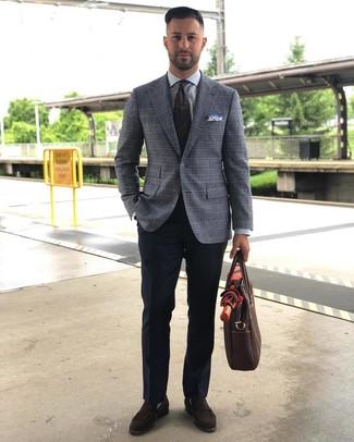 How to wear: dark brown suede loafers, navy dress pants, grey dress shirt, grey plaid blazer