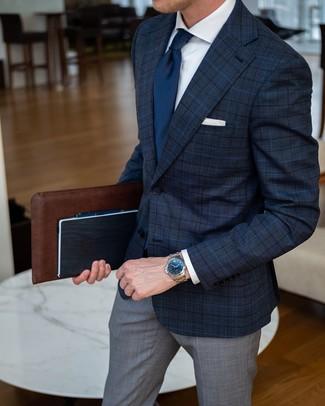 How to wear: navy tie, grey plaid dress pants, white dress shirt, navy plaid blazer