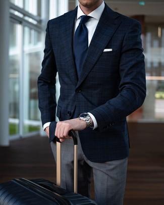 How to wear: black suitcase, grey plaid dress pants, white dress shirt, navy plaid blazer
