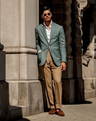 How to Wear Khaki Dress Pants For Men: Try teaming a teal blazer with khaki dress pants for smart style with a modern take. Look at how nice this ensemble goes with a pair of tobacco suede loafers.