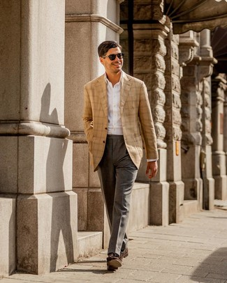 How to Wear Dark Brown Suede Tassel Loafers: For a look that's classy and envy-worthy, choose a tan plaid blazer and grey dress pants. When it comes to footwear, this look pairs well with dark brown suede tassel loafers.