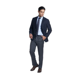 How to wear: dark brown leather derby shoes, charcoal dress pants, light blue dress shirt, navy blazer