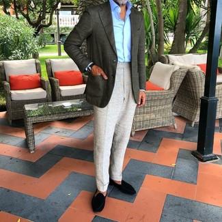 How to wear: black suede loafers, grey dress pants, light blue dress shirt, dark green blazer