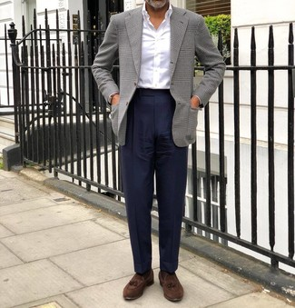 How to wear: brown suede tassel loafers, navy dress pants, white dress shirt, grey houndstooth blazer