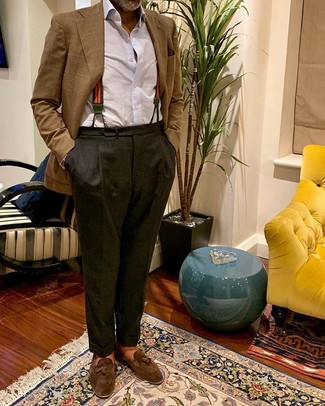 How to wear: brown suede tassel loafers, charcoal dress pants, white dress shirt, brown plaid blazer