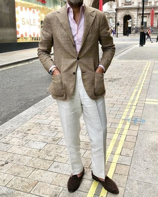 How to Wear a Tan Leather Watch For Men: A brown plaid blazer and a tan leather watch are an easy way to inject some cool into your off-duty fashion mix. Dark brown suede loafers are guaranteed to give an added dose of style to your getup.