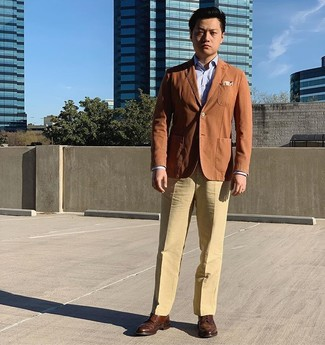 How to wear: brown leather brogues, khaki dress pants, light blue dress shirt, tobacco blazer