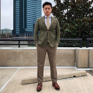How to wear: brown leather derby shoes, brown dress pants, light blue dress shirt, olive wool blazer