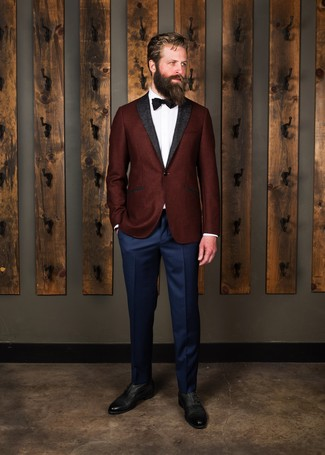 Men's Looks & Outfits: What To Wear In 2020: You're looking at the definitive proof that a burgundy wool blazer and navy dress pants look awesome if you pair them together in a classy outfit for a modern gent. Black leather oxford shoes pull the outfit together.