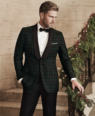 How to Wear a Black Bow-tie For Men: Want to inject your menswear arsenal with some laid-back menswear style? Wear a dark green plaid blazer and a black bow-tie.