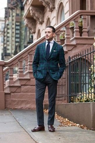 How to wear: dark brown leather double monks, charcoal wool dress pants, white dress shirt, navy and green plaid blazer