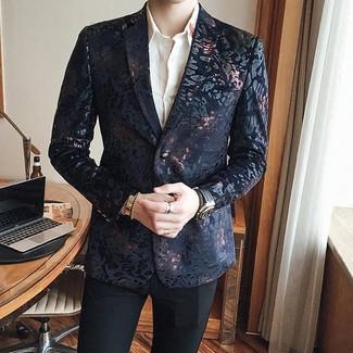 How to wear: black leather watch, black dress pants, white dress shirt, black brocade blazer