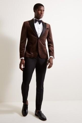 How to wear: black leather loafers, black dress pants, white dress shirt, dark brown velvet blazer
