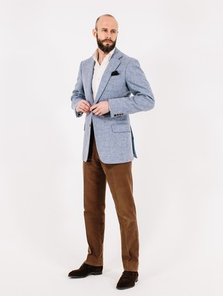 Men's Looks & Outfits: What To Wear In a Dressy Way: Marrying a light blue tweed blazer and brown corduroy dress pants is a surefire way to inject your wardrobe with some masculine sophistication. Dark brown suede derby shoes are a welcome complement for this look.