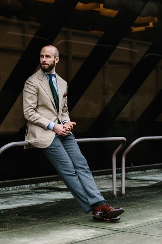 How to Wear Grey Wool Dress Pants For Men: This pairing of a beige herringbone blazer and grey wool dress pants embodies polish and effortless class. A pair of burgundy leather brogues makes your look complete.
