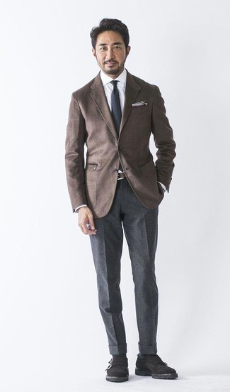 How to Wear a Dark Brown Wool Blazer For Men: A dark brown wool blazer looks so polished when worn with charcoal wool dress pants. Complement this outfit with black suede double monks and you're all done and looking spectacular.