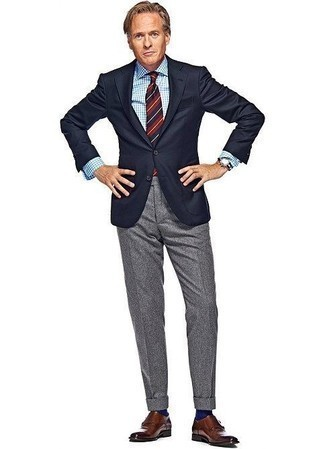How to Wear Brown Leather Double Monks After 40: Putting together a navy blazer and grey wool dress pants is a fail-safe way to infuse masculine elegance into your closet. The whole outfit comes together if you complete your look with a pair of brown leather double monks.