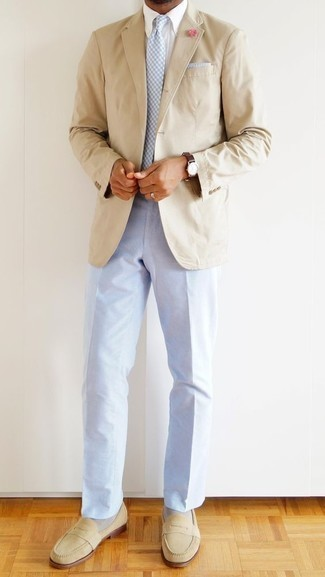 How to Wear Light Blue Dress Pants For Men: A beige blazer looks so classy when combined with light blue dress pants for an ensemble worthy of a true gent. Let your outfit coordination skills truly shine by completing this ensemble with a pair of beige suede loafers.