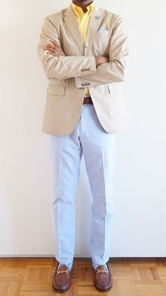How to Wear Light Blue Dress Pants For Men: Make a beige blazer and light blue dress pants your outfit choice to look like a true gent. A pair of brown leather loafers makes your getup whole.